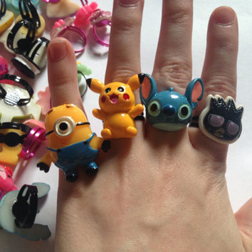 60x Wholesale Adjustable Ring Job Lot Jobtlot Rings Car Boot Summer Fayre School Disney Minion Frozen Pokemom Kids Pikachu