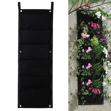 84*30cm 6 Pockets Vertical Garden Planter Vertical Garden Hanging Planter Bag Indoor Outdoor Wall Balcony Herbs