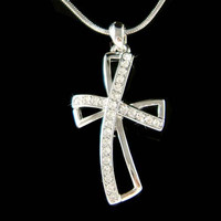 Swarovski Crystal Stylish Modern Infinity Cross Communion Jesus Christ God Lord Religious Charm Pendant Chain Necklace Best Friend Gift
