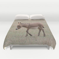 Miniature Donkey Foal Duvet Cover by Veronica Ventress