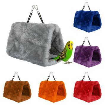 Fashion Plush Hut Hammock Hanging Cave Cage Snug Hut Tent Bed Birds Winter Warm Nest Bird Parrot Conure Toy Parrot Hammock F