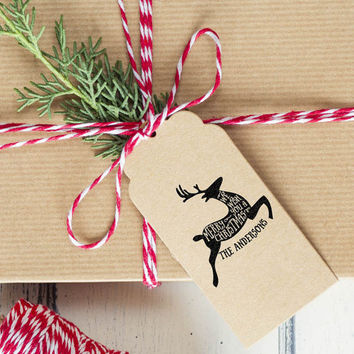 Custom Reindeer Christmas Stamp, customized gift for holidays, housewarming and weddings