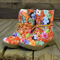 Pretty Juice Orange Floral Military Combat Boots