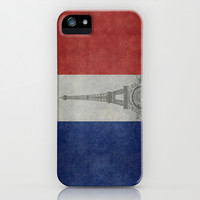 National Flag of France with Eiffel Tower  with Vintage treatment iPhone & iPod Case by LonestarDesigns2020 - Flags Designs +