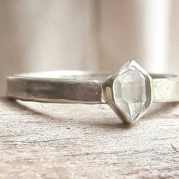 Bezel Set Herkimer Diamond Wedding Ring - Boho Wedding Ring - Unisex Wedding Band - Crystal Engagement Ring - Sterling Silver Wedding Band