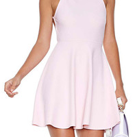 Light Pink Backless Cami A-Line Dress