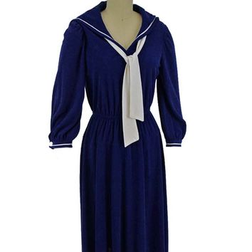 70s Navy Blue Sailor Dress-M