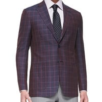 Plaid Two-Button Jacket, Burgundy/Navy, Size: 44R, red - Ermenegildo Zegna