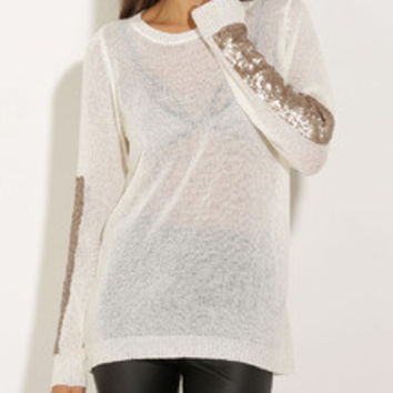 White Long Sleeve Sequined Sweater