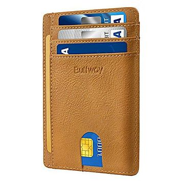 Ultra Slim Minimalist Front Pocket RFID Blocking Leather Wallets for Men & Women – Durable, Stylish & Protective Card Holder Sleeve with ID Window – Identity Safe Travel Accessories