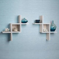 Reversed Criss Cross Wooden Display Shelves, Set of 2, White-Danya B