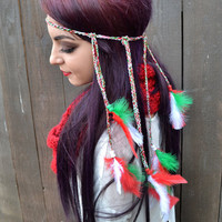 Holiday Feather Headband #B1009