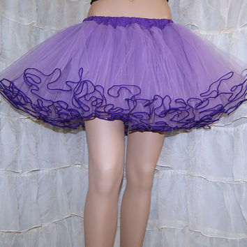 Pastel and Dark Purple Piped Costume TuTu Crinoline Skirt MTCoffinz --- Adult All Sizes