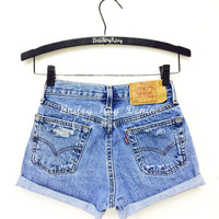 Levis Shorts - High Waisted Cutoffs Denim distressed Cheeky - All Sizes xs s m l xl xxl