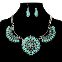 Western Flower Concho Necklace Set