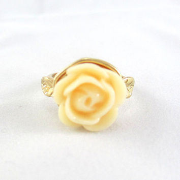 Soft Yellow Rose Flower Ring