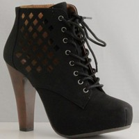 Qupid Puffin-62 Black High Heel Boot Nubuck Lace up Platform Bootie - Perforated High Heel Black Bootie,Puffin-62 Black 9