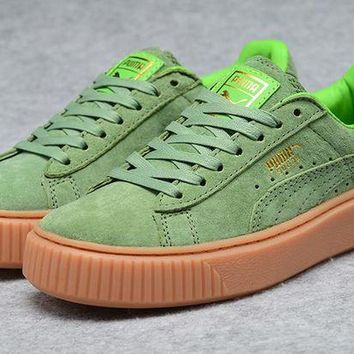 DCCKIJ2 Puma Rihanna Casual Suede Creeper Flatform Shoes Green Brown