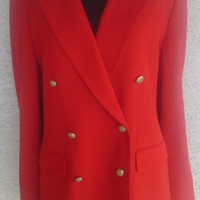 Ralph Lauren red wool pant suit size ten double breasted 6 gold button front 4 button cuffs worsted wool and lycra spandex blend stunning