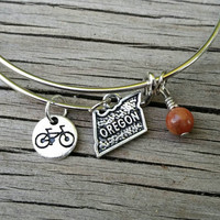 Oregon bracelet - Oregon charm bangle - Bike Oregon jewelry, bicyclist accessory. Perfect gift for Oregonian cycling fans