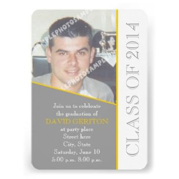 Class of 2014 grey, yellow graduation photo invitation