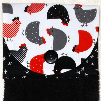 Kitchen Hand Towel • Hanging Dish Towel • Hanging Chicken Towel • Red & Black • Glamping • Dish Towel • Black Hand Towel • FREE SHIPPING