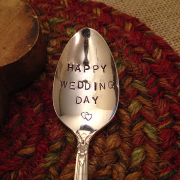 Hand Stamped Silver Wedding Spoon, Stamped Silverware, Vintage Silver Spoon, Bridal Shower Gift, Bride Gift, Wedding Decor