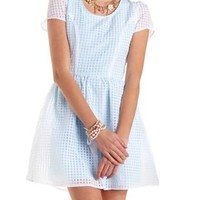 Gingham-Checked Organza Skater Dress