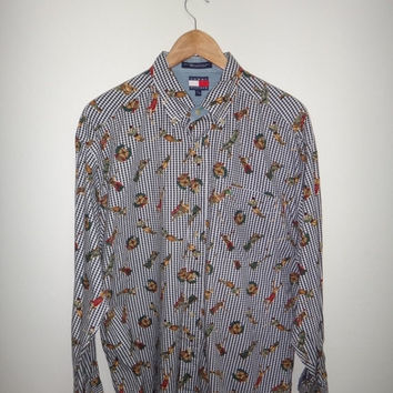 New Year Sale Vintage 1990s Tommy Hilfiger Golf Shirt Long Sleeve Full Print Button Down