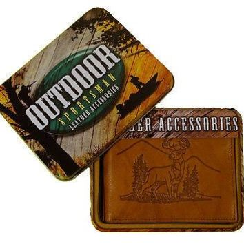 Deer Scene Whitetail Buck Embossed Leather Billfold Wallet with Gift Tin