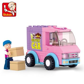 Sluban Building Block Girl Dream Friends Delivery Van 102pcs Educational Bricks Toy-Boy No retail box