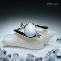 Nephele. Silver (or Gold) White Opal and Zircon Ring, all sizes