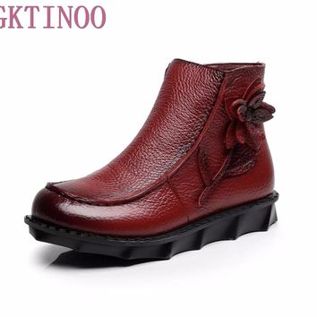 New Autumn women shoes Winter Short Flat Heels Shoes Genuine Leather Boots Side Zipper Women Handmade Flowers Ankle Boots