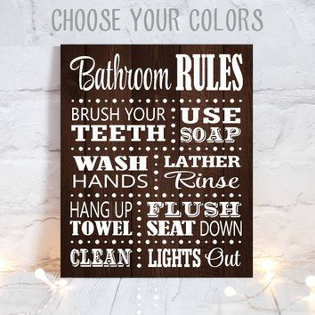 BATHROOM RULES Wall Art, Child Bathroom Rules, Wood Bath Decor,