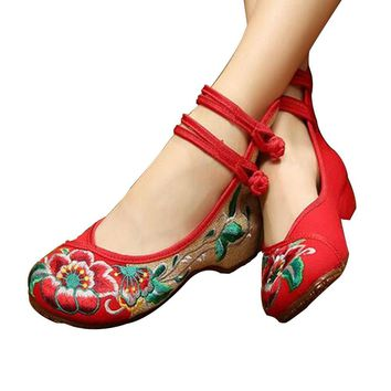 Chinese Embroidered Floral Shoes Women Ballerina Mary Jane Flat Ballet Cotton Loafer R