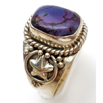 Charoite Sterling Silver Ring Size 8 Vintage