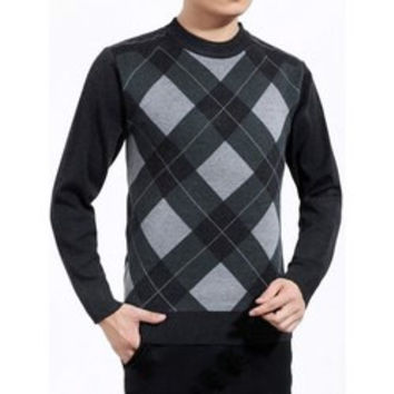 Color Block Argyle Crew Neck Sweater