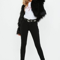 Missguided - Shaggy Faux Fur Coat Black