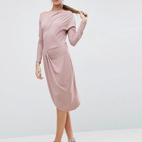 ASOS One Shoulder Midi Bodycon Dress With Drape Front at asos.com