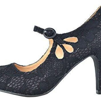 Chase & Chloe Kimmy-21 Womens Round Toe Mid Heel Mary Jane Pumps-Shoes, Black Lace, 6