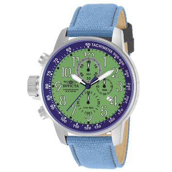 Invicta 12075 Men's I-Force Lefty Green Dial Blue Fabric & Leather Strap Chronograph Watch