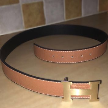Hermes Belt - Brown and Gold