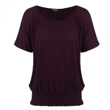 Batwing Short Sleeve Solid Shirring Dolman Top