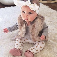 2016 Newest Kids Baby Girl Newborn Clothes Set Headband+Long Sleeve Tops+Pants Outfit Baby Girl WInter  Clothes Set 3PCS