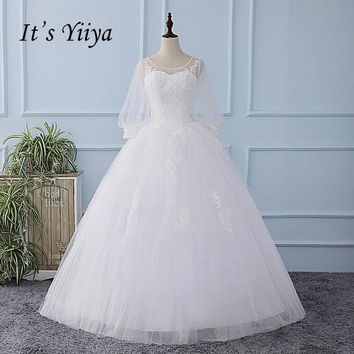It's YiiYa Off White Wedding Dress Sequined Simple Tulla Pattern Appliques Bride Wedding Gowns Vestidos De Novia Casamento XL217