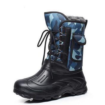 Men's waterproof snow boots Non-slip rubber hard-wearing Soles Detachable