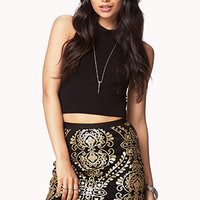 FOREVER 21 Sequined Baroque Mini Skirt Black/Gold