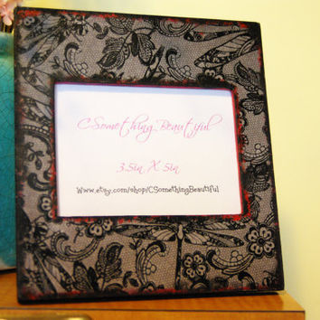 Black Lace 3.5X5 Picture Frame - Black and Red - Distressed - dragon fly's
