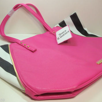 Juicy Couture Pink with Black & White Stripes TOTE / TRAVEL / BEACH BAG With Tag