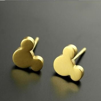 Jisensp Minimalist Jewelry Cute Cartoon Kitty Mickey Stud Earrings for Women Dazzling Mouse Earrings Original Jewelry 10pcs-E099
